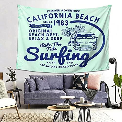 FOURFOOL Tapiz,Impresión de surf de California para el fondo de la camiseta o la ropa,Decoración de la Pared...