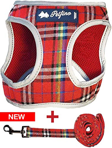 Petfino Step-in Dog Harness with Matching Leash for Small Dogs and Cats All Weather Soft Breathable Mesh for Ultra Comfort Mesh Plaid Red