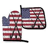 ~ Hockey sobre césped EE. UU. Bandera americana Palo de hockey Bola desgastada Guantes de horno y soportes para ollas Juegos de guantes para hornear para barbacoa Cocinar Hornear Asar a la parrilla