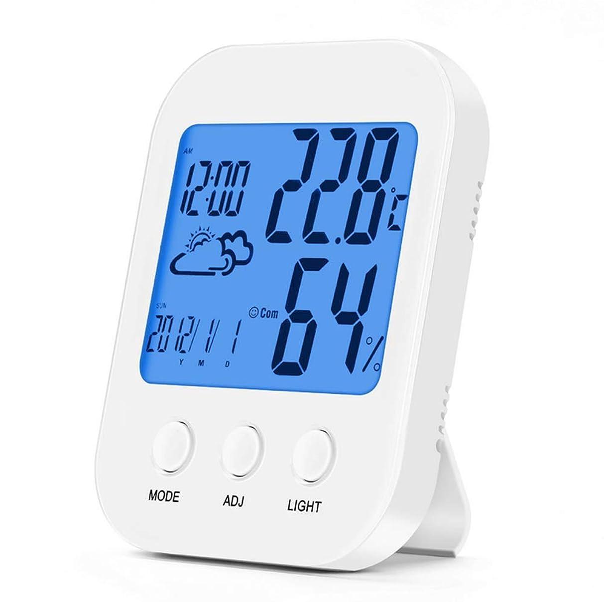 対称キャンプ分析的なワイヤレス温度センサー&湿度計大画面タッチ電子温度計と湿度計付き屋内屋外温度計