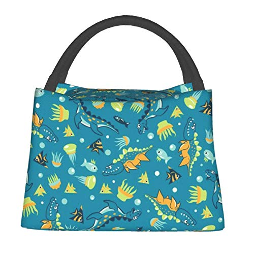 Sea Animals Lunch Bag, Cute Kids Insulated Lunch Box Reusable Cooler Tote BagMulti-Functional School Lunch Container For Teen Boys Girls Adult