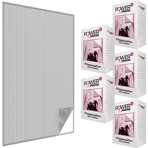 Fliegengitter Fenster 130x150 cm Schwarz 5er Set - Durchsichtiges & Kürzbares Fliegennetz mit 5,6m Klettband - zuverlässiger Schutz vor Mücken, Fliegen & Insekten - Insektenschutz ohne Bohren