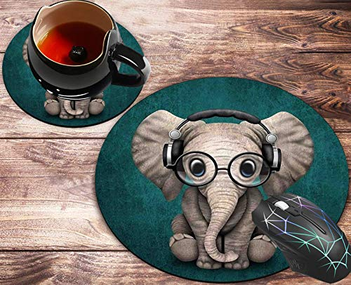 Round Mouse Pad and Coasters Set, Pretty with Green Elephant Design Mousepad, Anti Slip Rubber Round Mousepads Desktop Notebook Mouse Mat for Working and Gaming