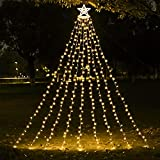 Christmas Decorations Outdoor Star String Lights,349 LED 8 Modes with 14' Topper Star Christmas Tree Lights,Star Waterfall Lights for Outside Tree Yard Wedding Home Party,Warm White