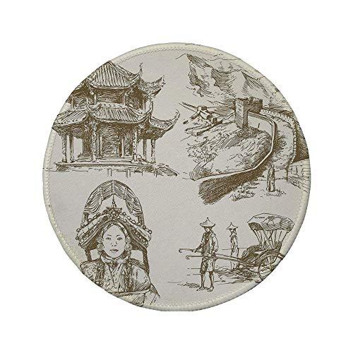 Rutschfreies Gummi-rundes Mauspad antike China-Dekorationen chinesische Erbesymbole Pagode Great Wall Woman Portrait Sketch braune Creme 7.9