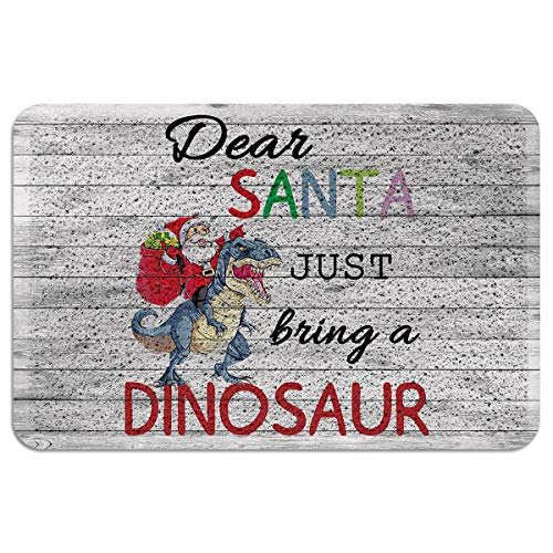 Welcome Entryway Doormats Christmas Dinosaur with Santa Claus and Quotes, Indoor/Outdoor Entrance Non-Slip Floor Rugs Retro Wood, Outside Patio PVC Mat, Heavy Duty Shoe Scraper Dirt Mud Trapper