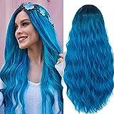 TANTAKO® Pelucas de Cosplay de raíces oscuras azul ombre para las mujeres de aspecto natural sintético disfraz de Halloween Pelucas con casquillo de peluca
