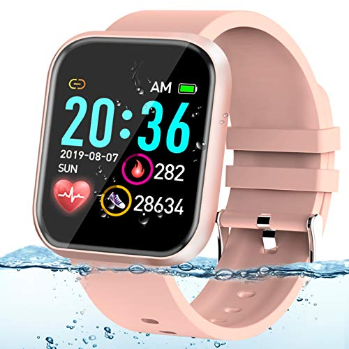 Adhope Smartwatch für Damen Sportuhr Fitness Armbanduhr Bluetooth 1.3 Zoll Voll Touchscreen Smartwatch Wasserdicht mit Pulsmesser Schlafmonitor Blutdruckmonitor Blutsauerstoff für iOS Android