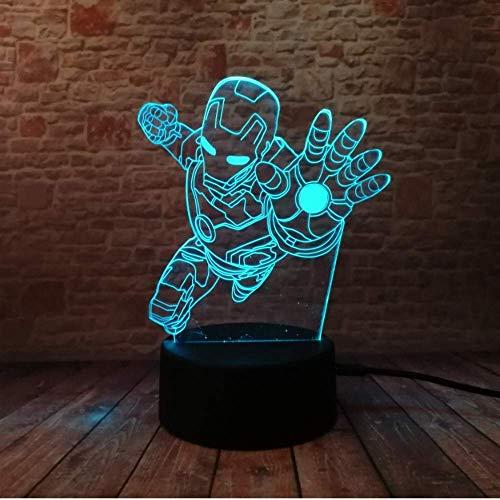 Illusion Light Superhero Iron Man - Figura de 7 colores con luz LED que cambia de color