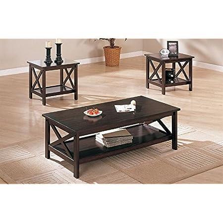 Amazon Com Poundex 3 Piece Coffee Table Cappuccino Furniture Decor