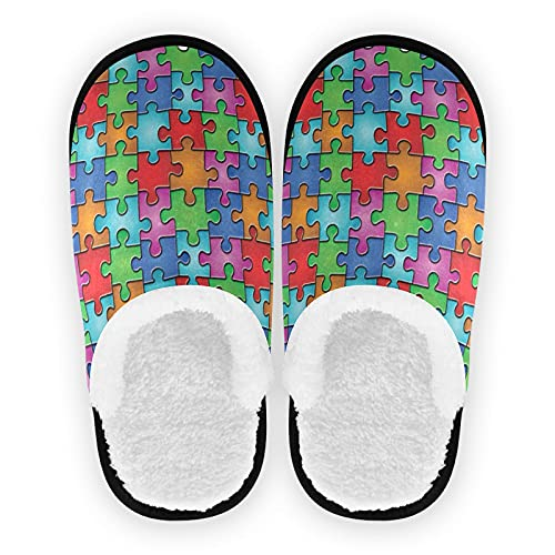 Vintage Puzzle mens slippers, soft memory foam Non-Slip indoor house slippers home shoes for bedroom hotel travel spa