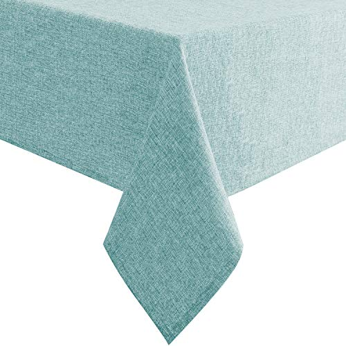 Hiasan Faux Linen Rectangle Tablecloth - Waterproof Wrinkle and Stain Resistant Washable Table Cloth for Kitchen Dining Room Holiday Dinner, Aqua, 54 x 80 Inch