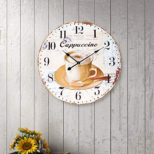 SkyNature Large Wall Clock, Vintage Wooden Clock with Arabic Numerals, Indoor Silent Non-Ticking Battery Operated Clock Decorative for Living Room, Bedroom, Kitchen, Office, Den - 24 Inch, Coffee