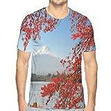 Mens T-Shirt,Far Away View of A Mountainous Area In Autumn S