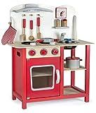 Leomark Classic Spielküche aus Holz - Farbe Rot - Kinderküche mit Zubehör, Holzküchemit Waschbecken, Pfanne, Backofen, Kochtopf, Küchenhelfern, Uhr, Funktionale Bunte Spielzeug, für Mädchen und Jungen, Höhe 75 cm