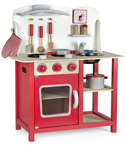 Leomark Cocina Madera Infantil De Juguete - color Classic Roja -Accesorios: Reloj, Grifo y Fregadero, Cubiertos, Utensilios de Cocina, Para Niños, Juego de Imitación, Dim: 60x30x75 (altura) cm