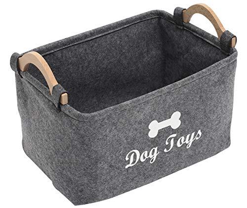 Xbopetda Fiber Soft Felt Dog Storage Basket Bin Organizer - with Wooden Handle - Pet Supplies Storage BasketBin Kids Toy Chest Storage Trunk-Grey-Big