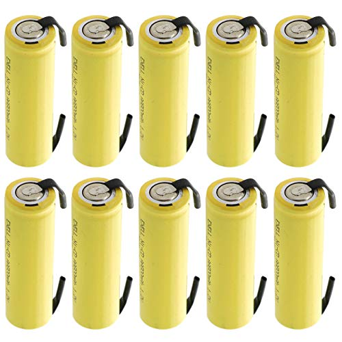 (10-PACK) AA 1.2V 800mAh NiCd Rechargeable Assembly Cell Battery with Tabs for high power static applications Telecoms, UPS and Smart grid, electric mopeds, meters, radios, RC devices, electric tools