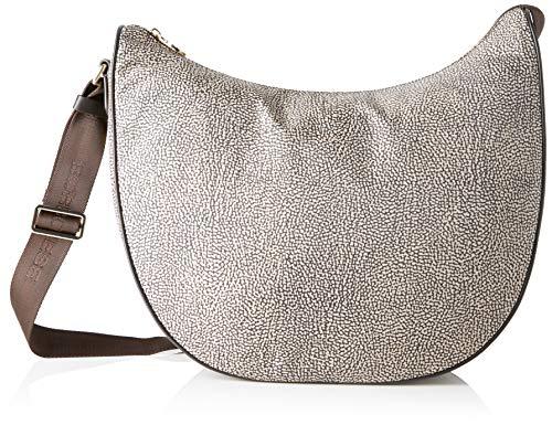 Borbonese Luna Bag Medium, Borsa a Spalla Donna, Marrone (Op Classico/Marrone), 35x38x15 cm (W x H x L)