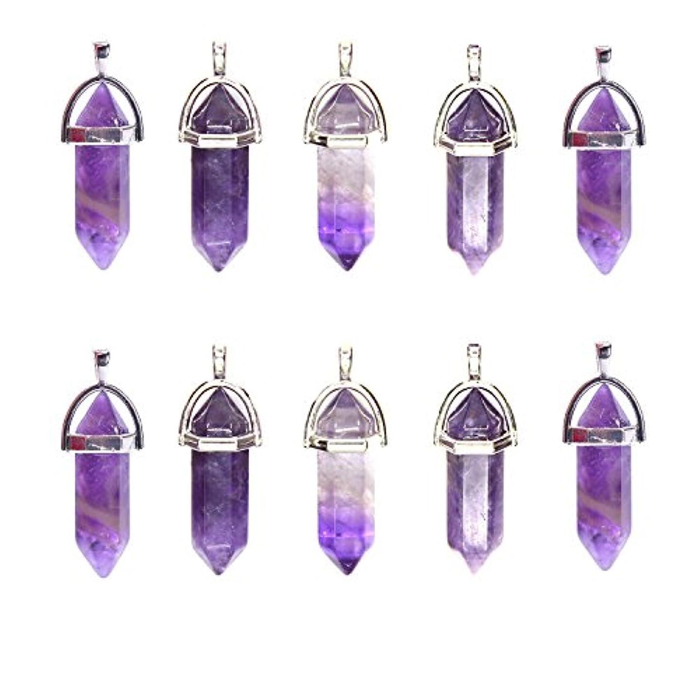 Wholesale 10PCS Amethyst Genuine Quartz Stone Healing Point Reiki Chakra Pendants Charms Bulk for Jewelry Making