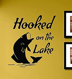 Hooked on the lake Fishing Bass Fish Vinyl Wall Art Decal Sticker