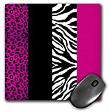 groovy stylish girls hot pink zebra and leopard print mousepad