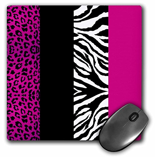3dRose LLC 8 x 8 x 0.25 Inches Mouse Pad, Pink/Black/White Animal Print Leopard and Zebra (mp_35436_1)