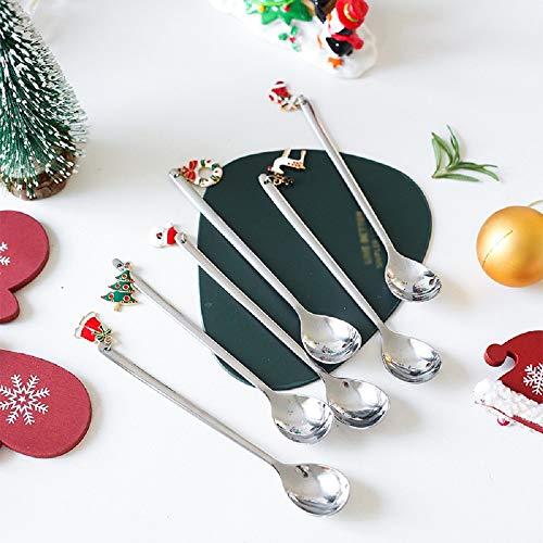 Yuanhe 6 cucchiai natalizi in acciaio inox per Natale, cucchiaini da caffè, gelato, tè, zuppa, zucchero, dessert, antipasti, taverna (argento)