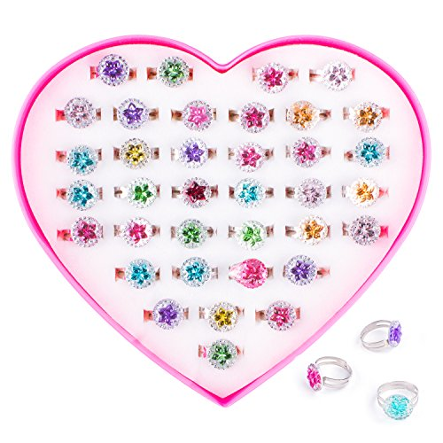 Colorful Assorted Gem Star Adjustable Rings with Heart Shape Display Case for Party Favors, Bridal Shower, Birthday, Adult & Children Size (36 Pack)