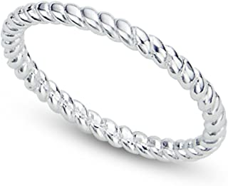 925 Sterling Silver 2MM Eternity Rope Wedding Band Ring