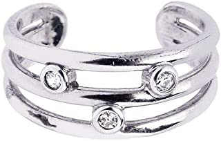 Sterling Silver With Rhodium Finish Shiny Cuff Type Open 3-row Toe Ring With 3-white Cubic Zirconia
