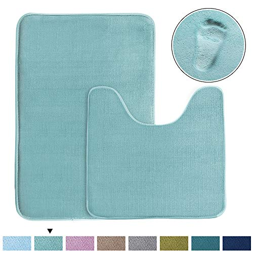 Bath Mat Memory Foam Set Bathroom Rug Set Flannel Velvety Bath Mat Luxury Extra Soft and Absorbent Non Slip Rugs for Bathroom/Bedroom Washable(Curved Set 20