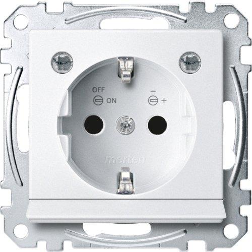Preisvergleich Produktbild Merten MEG2304-0419 SCHUKO-Steckdose m. Lichtausl. u. LED-Bel.-Modul,  BRS,  StK,  polarws,  Sys. M
