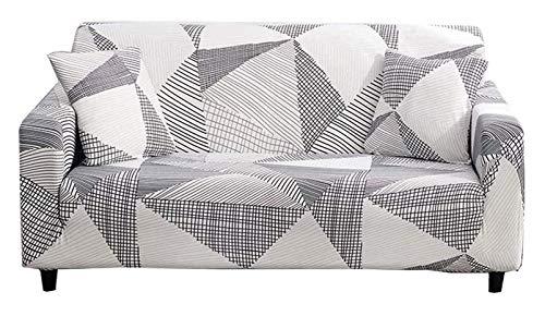 Chozan - Funda elástica para sofá con 2 fundas de almohada para 3 asientos, sofá, muebles de mascotas, funda de elastano, disponible en forma de L (geometría, sofá-3 plazas)