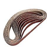 10 unids/set 452 * 15 mm bandas de lijado 40-800 granos bandas abrasivas de papel de lija para lijadora de banda herramienta abrasiva madera pulido de metal suave, malla 452x15 60