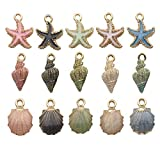 iloveDIYbeads 30pcs Assorted Gold Plated Enamel Ocean Starfish Conch Shell Charm Pendant for DIY Jewelry Making Necklace Bracelet Earring DIY Jewelry Accessories Charms (M156)