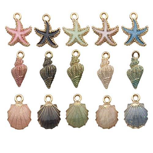 30pcs Mixed Colors Enamel Conch Starfish Sea Horse Charms Collection, Sea Shell Sea Star Metal Pendant Supplies Findings for Jewelry Making (HM156)