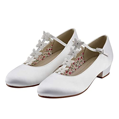 db0333628b2 Miss Rainbow Kids Bridesmaid Or Communion Shoes T-Bar Design with Butterfly  Detail Girls -