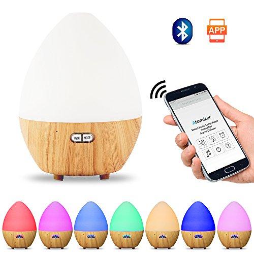 Aroma Diffuser mit Bluetooth Lautsprecher 450ml Öl Duftzerstäuber Luftbefeuchter Ultraschall Humidifier Aromatherapie APP Control + Bluetooth Lautsprecher mit Mikrofo und 7 Farben LED