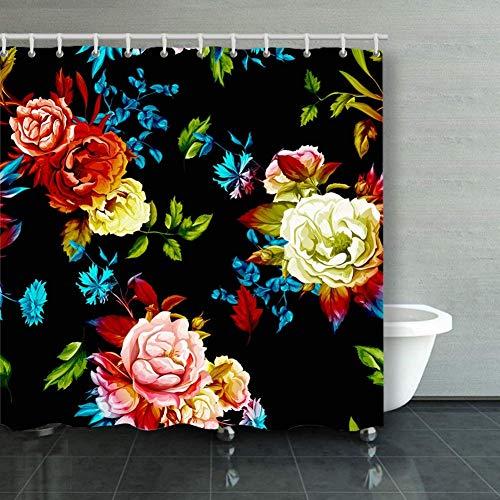 BGNHG Cortina de la Ducha Shower Curtain Wild Roses Peony cornflowers