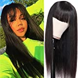 NUOF Straight Human Hair Wigs with Bangs (20inch) 8A None Lace Front Wigs Human Hair for Black Women 130% Density Glueless Machine Made Brazilian Remy Hair Wigs Natural Black