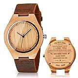 CUCOL メンズ 木製腕時計 ブラウン 牛革ベルト カジュアルウォッチ 花婿付き添い人へのギフトに ボックス付き for my son