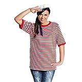 Rubies 14864-5 - Camiseta de Rayas de Manga Corta, Color Rojo y Blanco