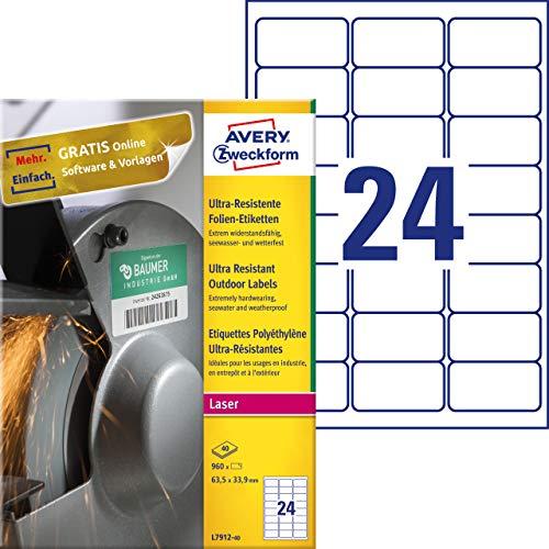 AVERY Zweckform L7912-40 duurzame folie-etiketten (63,5x33,9 mm op DIN A4, extreem sterk zelfklevend, waterbestendig, bedrukbare outdoor plakfolie) 960 stickers op 40 vellen wit