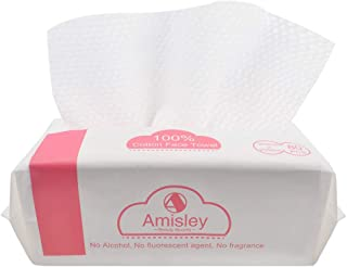 Amisley Premium Cotton Tissues 80Pcs- 100% Cotton- Lint-free Makeup Remover Pads- Safe Dry Wipes for All Skin Types- Eco-f...