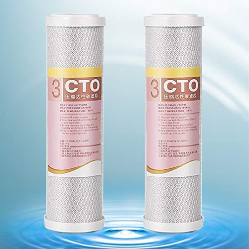 Filtro De Agua De Carbón Compatible con cto De 10', Cartucho De Bloque De Carbón De Repuesto para Sistema Debajo del Fregadero (2 Paquetes)