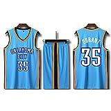 Shorts in jersey di Oklahoma City Thunder Kevin Durant # 35 - Set senza maniche, maglia da uomo, divisa da basket per ragazzi T-shirt da basket unisex T-shirt con lettere cucite (4XL,A)