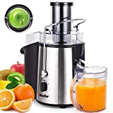 "Mueller Austria Juicer Ultra 1100W Power, Easy Clean Extractor Press Centrifugal Juicing Machine, Wide 3"" Feed Chute for Whole Fruit Vegetable, Anti-drip, High Quality, BPA-Free, Large, Silver"