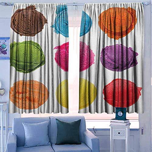 Home Decoration Thermische Geïsoleerde Gordijnen voor Slaapkamer Kwekerij Woonkamer IJs Leuke Kitty Kegels met Aardbei Fruit Kinderachtig Karikatuur Stijl Illustratie Mosterd Wit