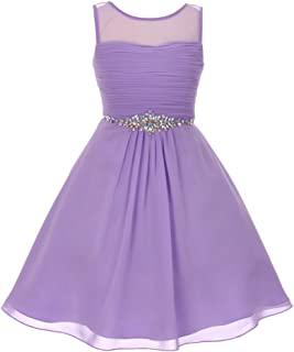 6d3d326ce56 Big Girls Lilac Glitter Rhinestone Chiffon Flower Girl Dress 8-16